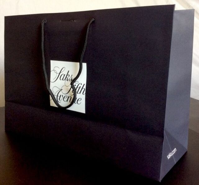 1 Authentic Saks Fifth Avenue Handle Gift Bag Large 17x11.5x6 w Ribbon Slot a4fa2310280cc