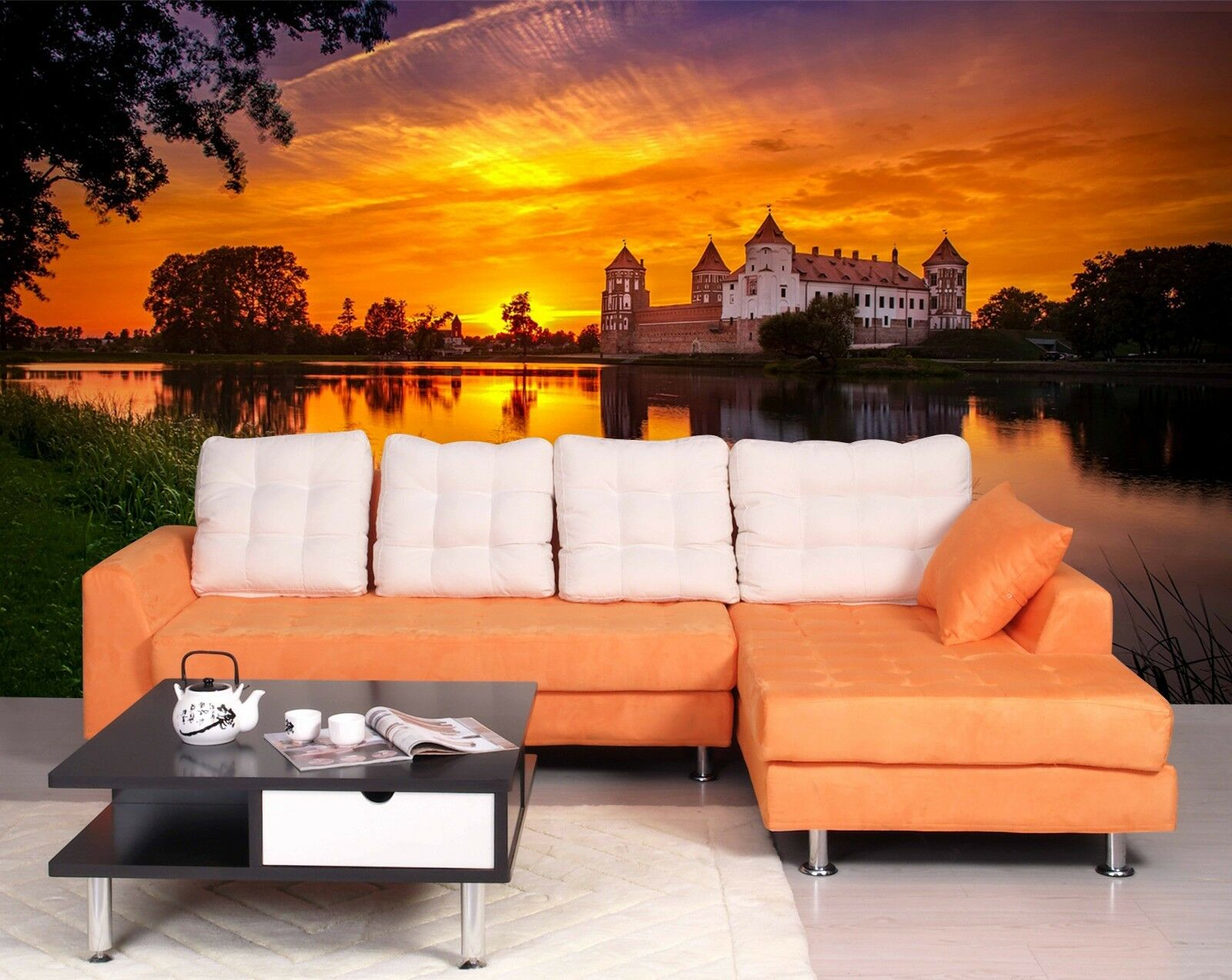 3D Sunset House 5 Wallpaper Murals Wall Print Wallpaper Mural AJ WALL AU Lemon