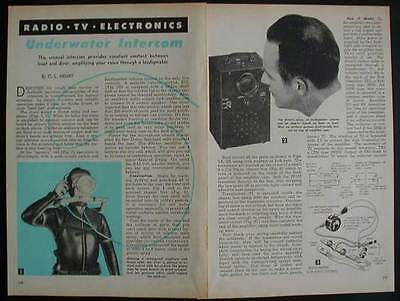 Underwater Intercom Diver to Boat 1960 How-To build PLANS