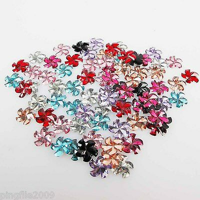Mix 80pcs 8mm Windmill Resin Heart Half Flat Back Rhinestone Buttons