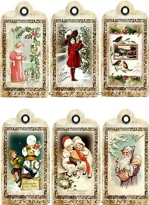 12 CHRISTMAS / WINTER CHILDREN VINTAGE HANG / GIFT TAGS FOR SCRAPBOOK PAGES (31)