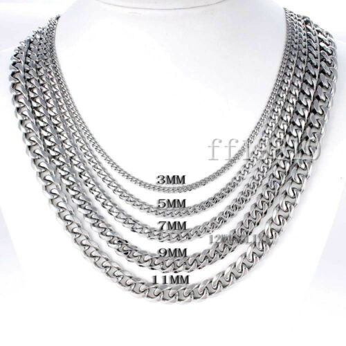 3//5//7mm Mens Chain Silver Tone Stainless Steel Curb Cuban Link Necklace 15-45/'/'