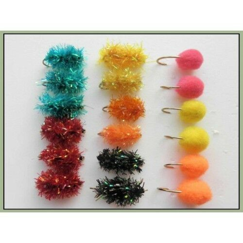 Mixed Colours Unweighted 18 Pack Egg Trout Flies Fritz /& Standard 10