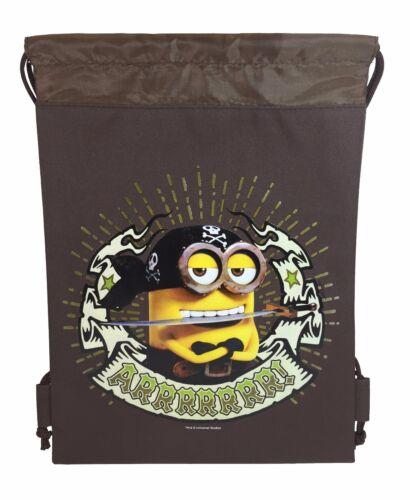 Brown Cute Pirate Minion one eye minion Stuart Minion Drawstring Sport Bag