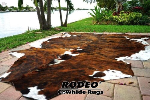 SUPERIOR   HAIR ON SKIN  cowhide RUG  BRINDLE size approx 6X7-7x7 feet
