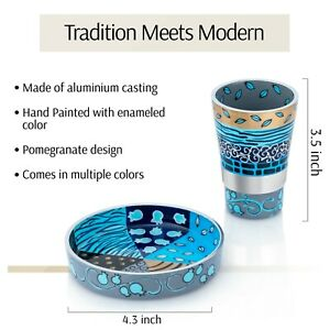 SURI Hand Painted Kiddush Cup 3.5'' Set Patterned Blue Gold Miriam's Kiddish Cup
