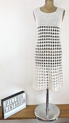 1960s Vintage Fatto A Mano Bianco Maglia Abito Taglia 10-12-mostra Il Titolo Originale Alta Qualità E Basso Sovraccarico