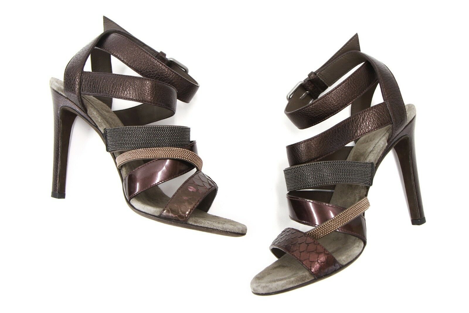 NWOB 1595 Brunello Cucinelli Multi-Leather Monili Strap Beaded Sandal37 7US A186