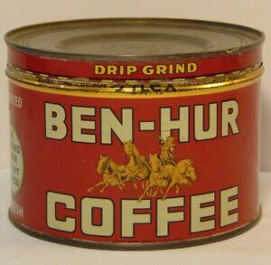 Old-Vintage-1950s-BEN-HUR-GRAPHIC-COFFEE-TIN-ONE-POUND-SAN-DIEGO-CALIFORNIA-LA