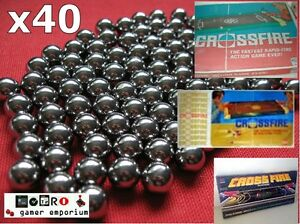 Replacement-40x-Spare-Steel-Ball-Bearings-CROSSFIRE-Game-IDEAL-MB-GAMES-balls