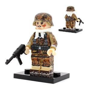World War 2 Lego Mini figure German Military Soldiers WW2 With MP40 4 Side Print