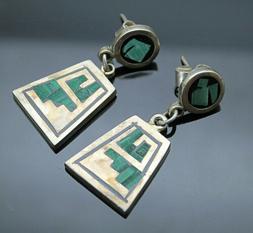 Vintage 925 Sterling Silver Malachite Mask with Malachite and others chip Inlay Pendant Turquoise Lapis Tiger/'s Eye