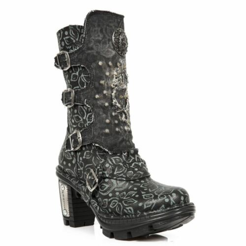 NewRock NEW ROCK NEOTR0 45-S1 BLACK LADIES TRAIL GOTHIC ROCK PUNK LEATHER BOOTS