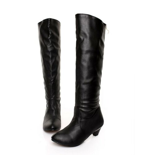 ginocchio da Mid boot On Kitten al Heel Ladys Pull Slouch Scarpe Leather Winter alte zWTwUzq5O