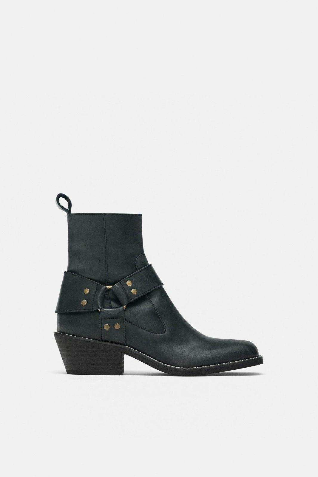 Zara nuevo AW18 botas al Tobillo occidental de Cuero Negro Talla  Ref. 7155 301