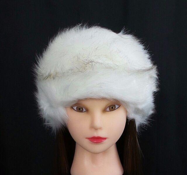 fbc8a970d83ea White Faux Fur Pillbox Hat Women's Russian Winter Soft Furry Cossack Snow  Ski for sale online   eBay