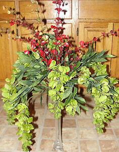 Tall Vase Fall Silk Flowers Olive Green Wisteria Office Den Desk