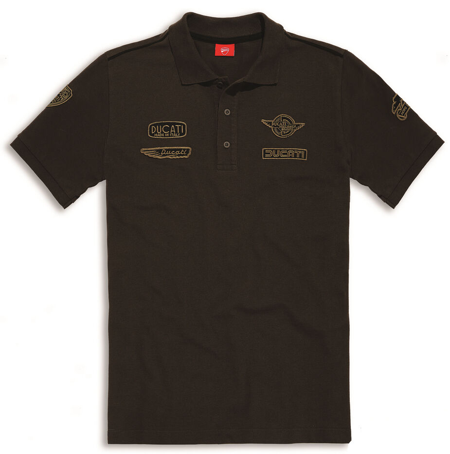 Ducati Historical 2 short Sleeve Retro Polo T-Shirt with Sew on Patches