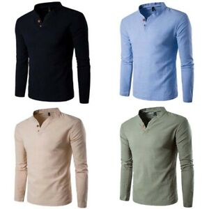 Sleeve-Cotton-Tops-Shirt-Men-039-s-Casual-Shirts-Tee-Long-T-Men-Slim-Fashion