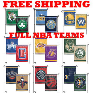 FULL-NBA-2018-Outdoor-Garden-Flag-Double-Sides-12x18-034-Pick-Your-Team
