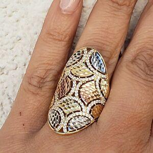 Big-long-14k-gold-ring-size-8-womans-diamond-cut
