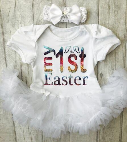 BABY GIRLS My 1ST EASTER Tutu Romper Dress BUNNY EARS NEWBORN Princess Gift Cute