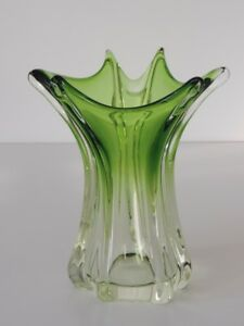 Alte Vase Kristall Glas Grün Wahrscheinlich Vsl Val Saint Lambert