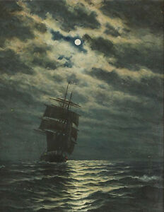 perfact-oil-painting-handpainted-on-canvas-034-Ship-in-the-moonlight-034-N4797
