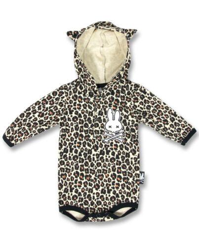 Six Bunnies Baby Leopard Print Bunny w//Crossbones Hoodie Romper Rockabilly