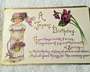 "VINTAGE 1913 "" A JOYOUS BIRTHDAY"" POSTCARD SPRING VIOLETS SENT TO NEW HAMPSHIRE"