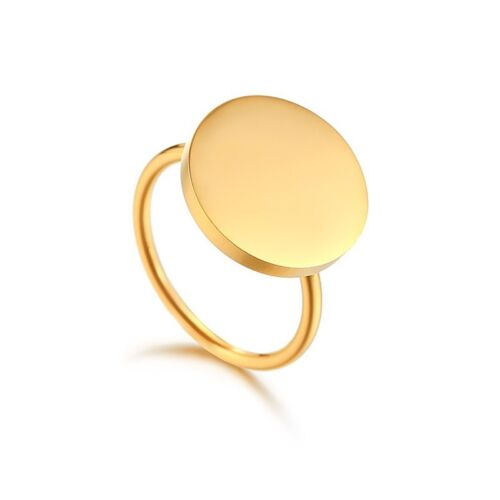 15mm Round Engagement Bands Women's 18 K Gold Stainless Steel Wedding Ring Sz 6 9 by Unbranded