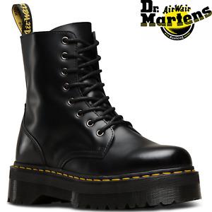 """Dr. Martens Women's Jadon 8"""" Leather Boots Shoes Platform Style - Black"""