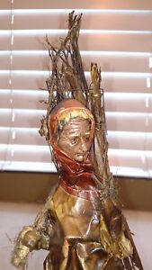 Mexican-Vintage-Folk-Art-Handcrafted-Paper-Mache-034-Old-People-034-Figure