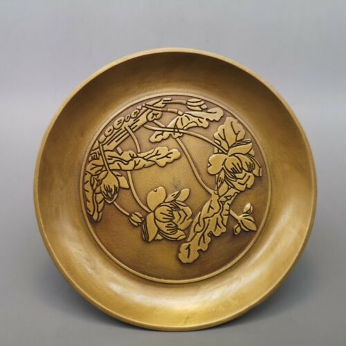 """6/"""" Chinese old antique brass Hand carved flower Fruits plate statue"""