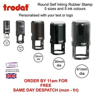 PERSONALISED ROUND SELF INKING RUBBER STAMP ADD YOUR LOGO TEXT LOYALTY CARD SHOP