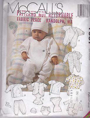 McCalls 7367 Sewing Pattern Infants Layettes New Uncut FF Jumpsuit Romper Gown