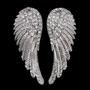 3209aa9c623d04 Huge Angel Wing 5.5cm Long Use Austria Crystal White Gold-plated ...