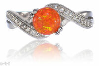 Infinity Celtic Round Created Mexican Orange Fire Opal Cz Ring Sterling Silver