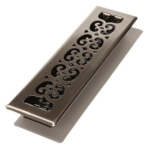 Steel Brushed Nickel Floor Decor Grates Scroll Floor Register Plated 2 x 10 in