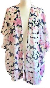 Select-Kimono-12-14-Navy-Pink-Floral-Boho-Festival-Lagenlook-Sheer-Open-Front