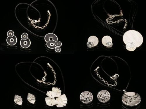 Noir cristal émail blanc Pendentif en Cuir Collier Percé Boucles D/'oreilles Bijoux K22