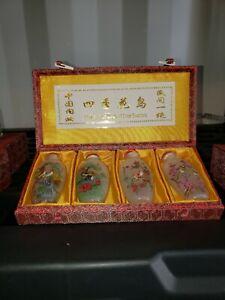 4-vintage-snuff-bottles-with-reversed-handpainted-scenes-Flowers-amp-Birds-Of-Fou