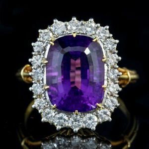 VINTAGE-AMETHYST-DIAMOND-RING-18CT-GOLD-6CT-AMETHYST-DATED-1974