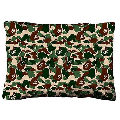 "BAPE BATHING APE CAMO Zippered Pillow Case 18""x 26"" Cushion Cotton Cover"