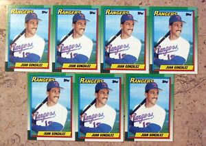 1990-Topps-331-Juan-Gonzalez-Rookie-RC-Texas-Rangers-7ct-Card-Lot
