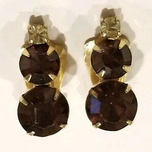 Pair-of-Vintage-Gold-Tone-Amber-Rhinestone-Clip-On-Earrings-Costume-Jewelry