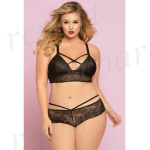 9ca6bb212 Details about New sexy intimates Women lingerie 2 piece bra set panty Black  plus size 10784-5X