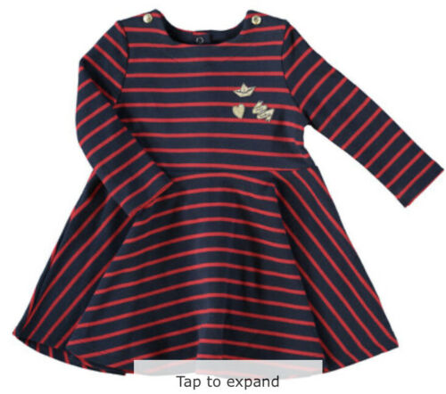 twins Avail Petit Bateau Red /& Blue Stripes Baby Girl 18 Months Thick Dress