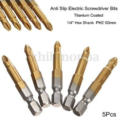 "5pcs 50mm Long Screwdriver Bits Titanium coated Pozi drive Bit Set  1//4/"" Hex"