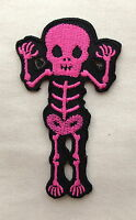 CUTE PINK SCARY SKELETON  Iron On/Sew On Patch Emo Goth Punk Rock